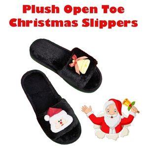 NEW Velvety Soft Plush Open Toe Christmas Slippers